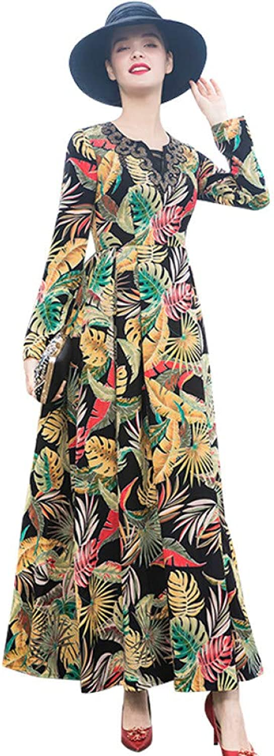 QAQBDBCKL S-Xxl Elegant Printed Women Long Maxi Dress Long Lady Party Dubai Dress Robe Longue Femme