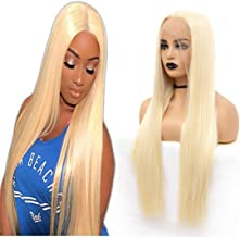 ATOZWIG Kanekalon Fiber 136 Inch Long Parting Sythetic Glueless Lace Front Wigs,Pre Plucked Hairline Bleached Knots African American Wig Blonde Wigs
