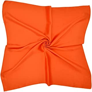 100% Mulberry Silk Solid Colour Unisex 53cm x 53cm Bandana Square Scarf Headband Neckerchief Jsmhh (Color : Orange)