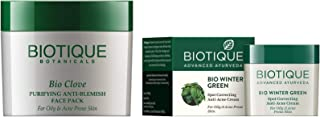 Biotique Bio Clove Purifying Anti Blemish Face Pack for Oily and Acne Prone Skin + Biotique Bio Winter Green Spot Correcting Anti Acne Cream for Oily and Acne Prone Skin