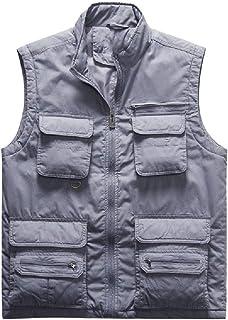 HEFASDM Mens Outdoor Pockets Warm Plus Size Outwear Coat Vest Waistcoat