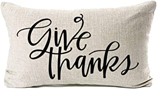 MFGNEH Thanksgiving Decor Give Thanks Cotton Linen Pillow Covers 12x20,Thanksgiving Decorations Throw Pillow Case Cushion Covers for Couch,Thanksgiving Gifts