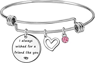 NA I Always Wished for A Friend Like You Friend Bracelet Bangle Friendship Gifts for Women Girls