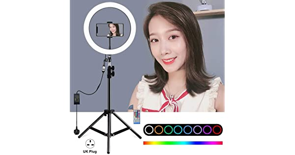 GzPuluz SLR Camera Tripod 1.1m Tripod Mount 12 inch RGB Dimmable LED Ring Vlogging Selfie Photography Video Lights Live Broadcast Kits with Cold Shoe Tripod Ball Head /& Phone Clamp AU Plug