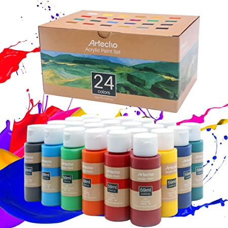 Artecho Acrylic Paint Set of 24 Color Paints, Halloween Decorations, 2Ounce/59ml Vibrant Acrylic Paint for Art Paint, Decorate, Supplies for Wood, Fabric, Crafts, Canvas, Leather&Stone