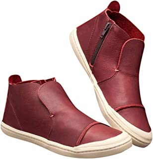 ◕。 Womens Flats Comfortable Round Toe Zipper Low-Heeled Patchwork Casual Shoes Ankle Booties Leather Boots