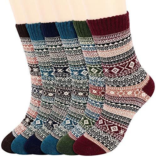 Fixget 6 Pares de Calcetines de Invierno para Hombres y Mujeres, Lana Calcetines de Punto de Estilo Vintage, Grueso Cálidos Calcetines Cómodos EU 35-42 (A)