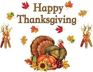 Collections Etc Happy Thanksgiving Garage Door Magnet with Turkey and Fall Leaves Harvest, Outdoor Decor