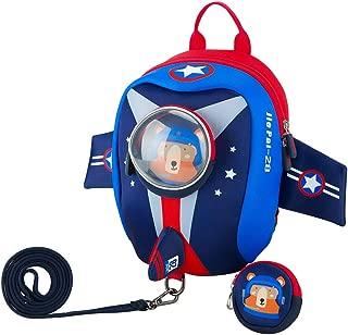 JiePai Toddler Kids Backpack with Safety Harness Leash,Waterproof 3D Cartoon Boys/Girls Backpack Lightweight Cute Animal Backpack for Travel/Nursery/Kindergarten/Preschool, Airplane-Blue (Blue) - B07HFP36BG