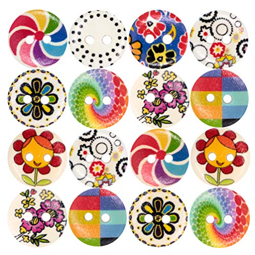 DFYOUHome Wooden Sewing Buttons with Colorful Rainbow Pattern, Size 15mm 2 Holes Round Craft Buttons for Sewing DIY Crafts, Children's Manual Button Painting Resin (Color200PCS)