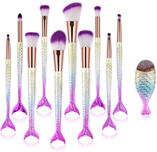 Makeup Brush Set 11pcs, Premium Synthetic Mermaid Make Up Brushes for Blush Highlight Concealer Fan Cute Cosmetic Brushes Collection