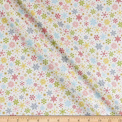 Andover/Makower UK Joy Snowflakes White Quilt Fabric By The Yard