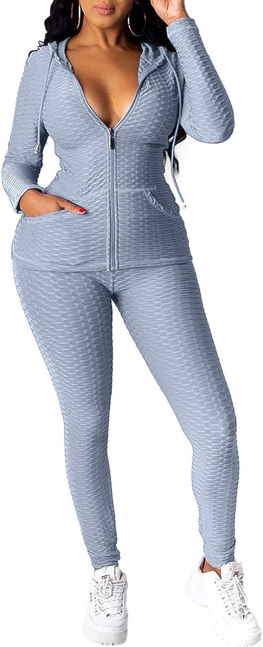 Lrady Women's 2 Piece Tracksuits Set-Hoodie Sweatshirt Jacket and Yoga Legging Workout Outfits Jogging Sweatsuits Set