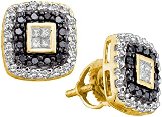 6d1692147 14KT Yellow Gold Round Black Diamond Square Stud Earrings 0.48 Cttw