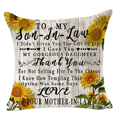Bnitoam Sunflowers Wood to My Son-in-Law Best Gift Square Cotton Linen Decorative Throw Pillowcase Couch Pillow Cover Cushion Case for Outdoor Family Bed Sofa Couch 18inches (Brown)