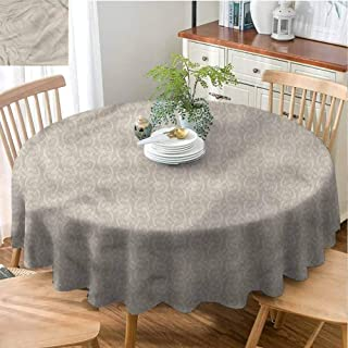 Taupe and White Holiday Round Tablecloth Kitchen Dinning Tabletop Decoration Outline Flowers Polyester Round Tablecloth Durable - 35