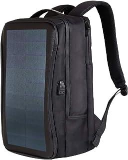 HAWEEL 2way ソーラーリュック14W 大容量 撥水 バックパック USB充電 通学/通勤//防災/旅行/登山に対応、曲がれるソーラーパネル付き、ナイロン&PUレザー製 (1枚)