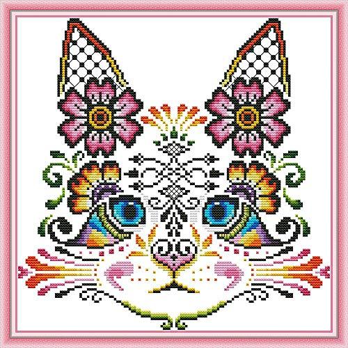 Kreuzstich-Stickerei-Set für Erwachsene Kinder, WOWDECOR Katzen, Weihnachten, Tiere, Hunde, lustig, 11 Karat gestanzt, DIY DMC Näharbeiten, einfache Anfänger katze