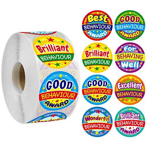 JZLMF 500 hojas/rollo de pegatinas de dibujos animados, 8 tipos de patrones divertidos, etiquetas de estímulo escolar, pegatinas para manualidades