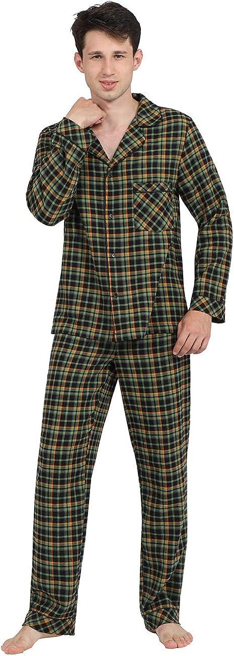 DISHANG Men's Pajama Set Long Sleeve Sleepwear Lightweight Button Down Tops and Pants/Bottoms Classic Broadcloth PJ Set