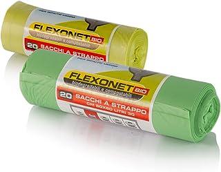 Rollo de 100bolsas biodegradables,50x 60 cm, 30litros, Rollo grande. Bolsas compostables 100%. Conformes a la normativa UNI EN 13432. Se fabrican a partir de residuos orgánicos.
