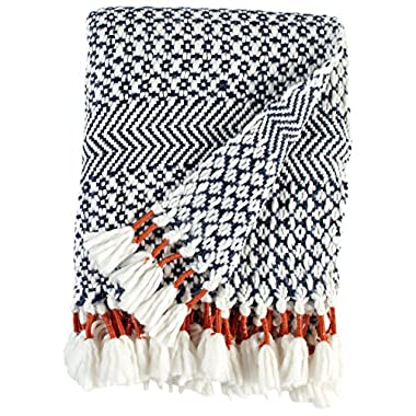 Rivet Modern Hand-Woven Stripe Fringe Throw Blanket, 50  x 60 , Navy
