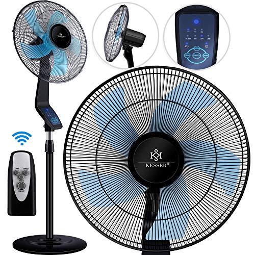 KESSER® Standventilator mit Fernbedienung, Timer Standlüfter - Oszillationsfunktion 80 Grad, 50W - 3 Geschwindigkeitsstufen, höhenverstellbarer Ventilator Standfuß - Neigungswinkel verstellbar