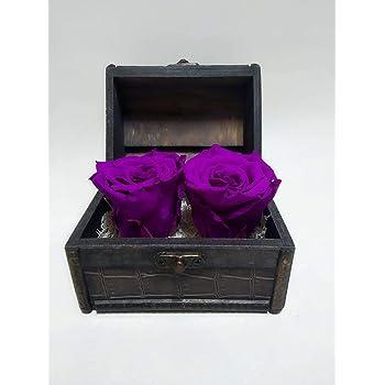 Rosa Natural preservada eterna, Color Morado. Envío Premium. Cofre de Madera con Dos Rosas eternas Color Morado Lila. Fabricado en España: Amazon.es: Hogar