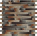 Kitchen Backsplash Tiles, Glass Mosaic Tile Sheets 12 x 12, Mesh Backing, Non-Sanded Grout for Installation, JAS-1007