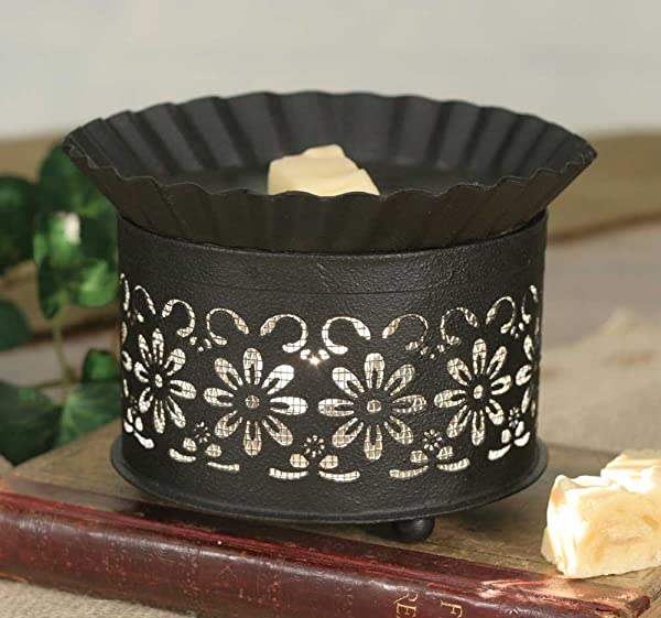 Country Daisy Wax Warmer With Screen Insert Brown