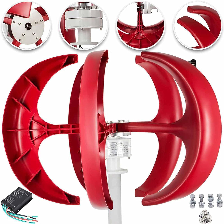 HYTC Turbina De Viento Vertical Linterna Roja Aerogenerador 300W Aerogenerador De 24V 5 Blades con Controlador Kit De Energía De Energía Doméstica De Equipos-24v 300w
