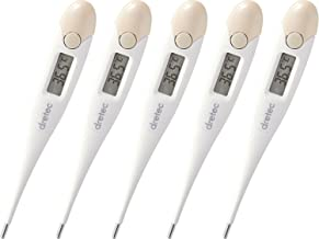 dretec Antibacterial Digital, Set of 5, Soft Touch Thermometer, Pre-Dicted 30 Seconds Digital (Pink)