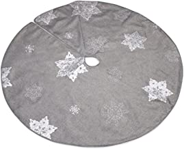 The Christmas Cart Silver Christmas Tree Skirt with White Embroidered Snowflakes | 117cm Diameter | Fully Lined | Tree Bas...