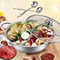 Hot Pot, Giveme5 Stainless Steel Twin Hot Pot Cookware Shabu Shabu Dual Sided Induction Cooker Gas Furnace Include Pot Lid and Pot Spoon