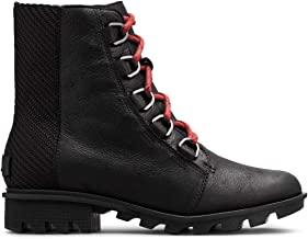 Sorel - Womens Phoenix Short Lace Non Shell Boot, Size: 7 B(M) US, Color: Black/Red Quar