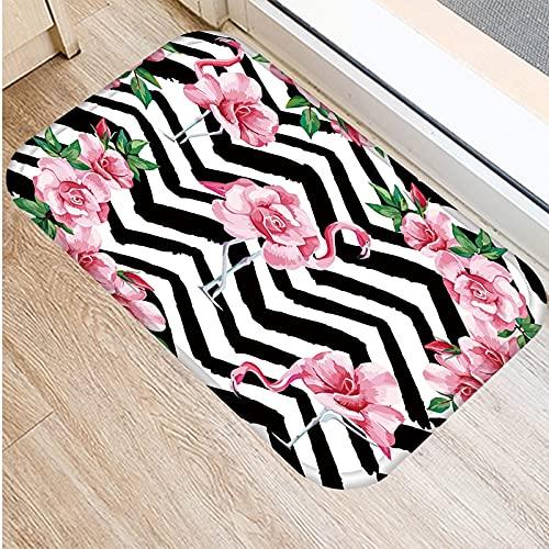 OPLJ Felpudo Sala de Estar Alfombra Rosa Elegante Flamenco Reutilizable Alfombra Lavable Dormitorio Pasillo Antideslizante Alfombras de Cocina a Prueba de Polvo A10 40x60cm