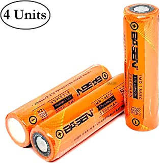 4 Pack of M&A BD Orange Series, 3500mAh, 30A, 3.7V, Rechargeable, Flat Top, Lithium Ion, 18650-Battery, with Free Storage Cases, for Electric Tools, Toys, LED Flashlights