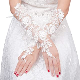 Ladies Lace Gloves Long Fingerless Gloves for Wedding Party Prom