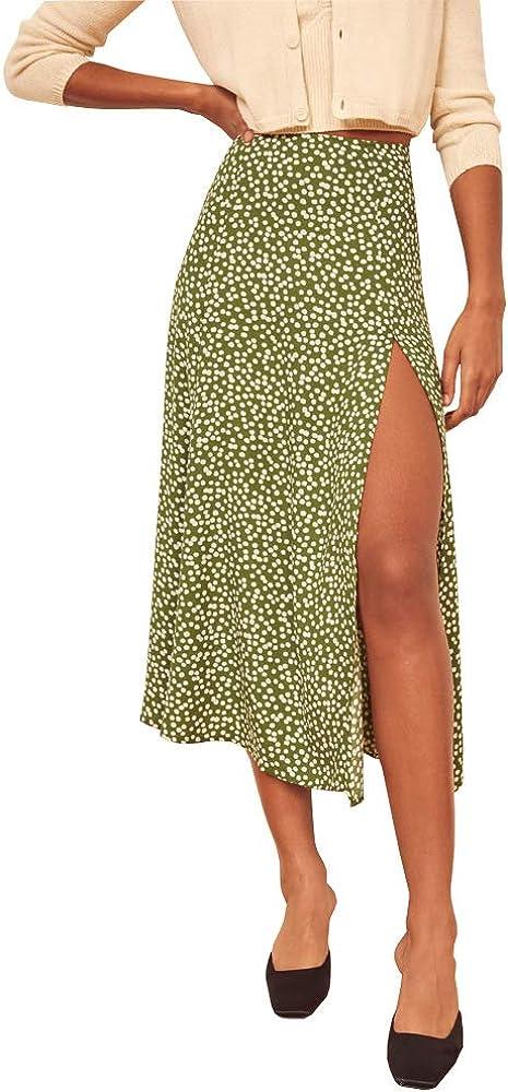 ZXCP Women's Casual High Waist A-Line Floral Print Side Split Midi Maxi Elastic Swing Skirt