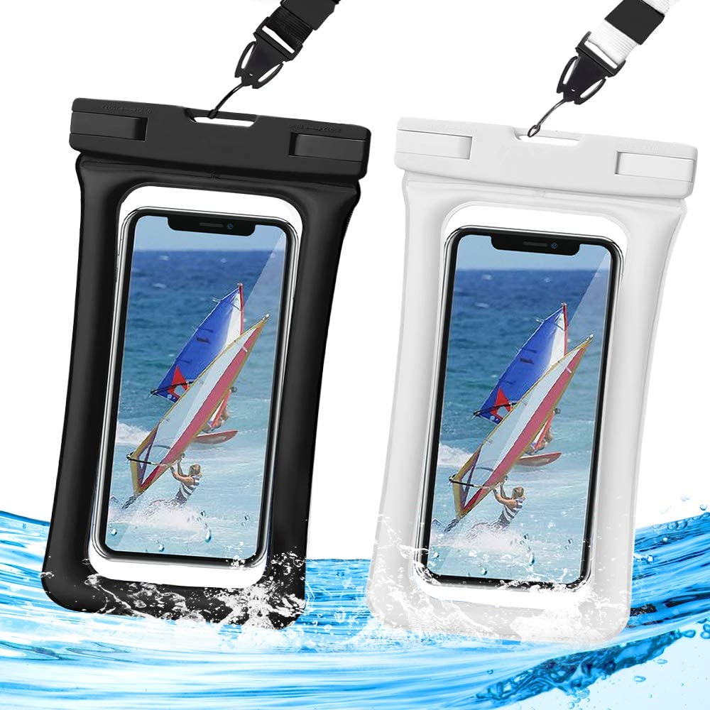 Waterproof Phone Pouch Floating,Universal Waterproof Case,Dry Bag TPU Clear IPX8,2-Pack Compatible for iPhone Xs Max/Xr/X/8/8plus/7/7plus6/6s Galaxy Note up to 6.5