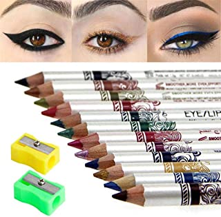 evpct 12 Colors Best Thick Black Eyeliner Pencils Set Eye Liners for Women Waterproof Smudge Proof Long Las...