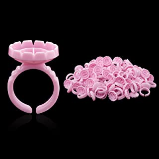 [200PCS] Smart Glue Rings Glue Cups for Lash Extensions Flower, Volume Lashes Blooming Rings Fanning Cups, Easy Fan Eyelas...