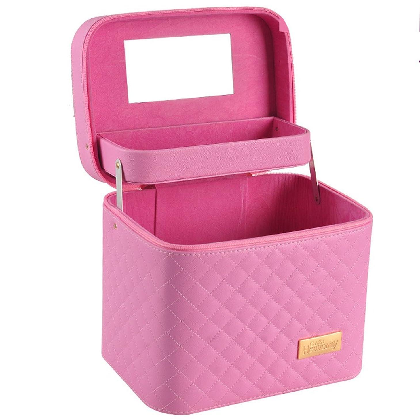 平野道徳レベルメイクボックス コスメボックス コスメBOX 大容量 収納ボックス 二層 2段タイプ 化粧ポーチ メイクポーチ 携帯便利 女性用 女の子 ミラー付き 化粧品 取っ手付き おしゃれ 鏡付き 機能的 防水 化粧箱