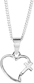 Dicksons Mom God Gave Me You Open Heart Cross Pendant Women's 18 Inch Silver Plated Everyday Necklace in Jewelry Box with Sentiment Card