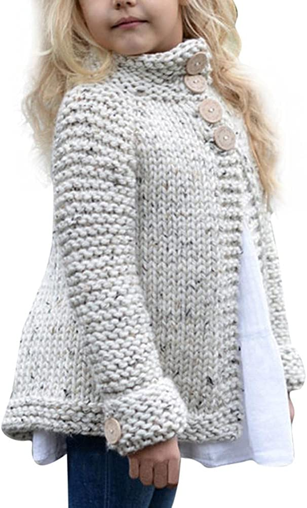 Kids Girl Winter Sweet Warm Button Knitted Sweater Cardigan Soft Thick Thermal Coat 2-8 Years