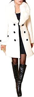 Mujer Abrigo lana de invierno de las mujeres con de piel sintética Parka otoño Chaqueta abrigo elegante doble botonadura l...