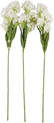 Fourwalls Artificial Yingchun Flower Sticks for Home Decoration (White, 80 cm Tall, 5 Branches, Set of 3)