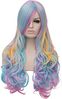 Bopocoko Mermaid Wigs for Women Long Curly Multi Color Cosplay Wig Halloween Costumes Sexy Party Wig with Wig Cap BU208