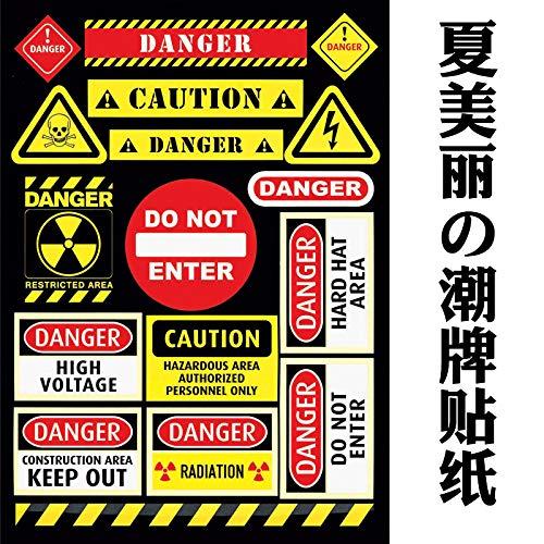 BLOUR Waarschuwing waarschuwing verboden aandacht gevaar waarschuwingsbord sticker bagage skateboard elektrische auto motorfiets waterdichte sticker