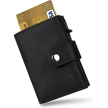 DODENSHA Credit Card Wallet, Leather Card Holder, RFID Blocking Wallet, Trifold Wallets Slim for Men with Zip Coin Pocket, 1 Cash Compartment, 1 Pop up Metal case for 8-10 Cards, 1 ID Window (Black)